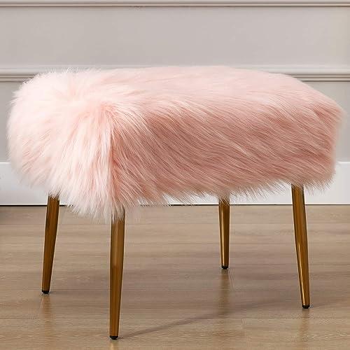 Cheap Wahson Faux Fur Accent Ottoman Footrest ottoman chair for sale