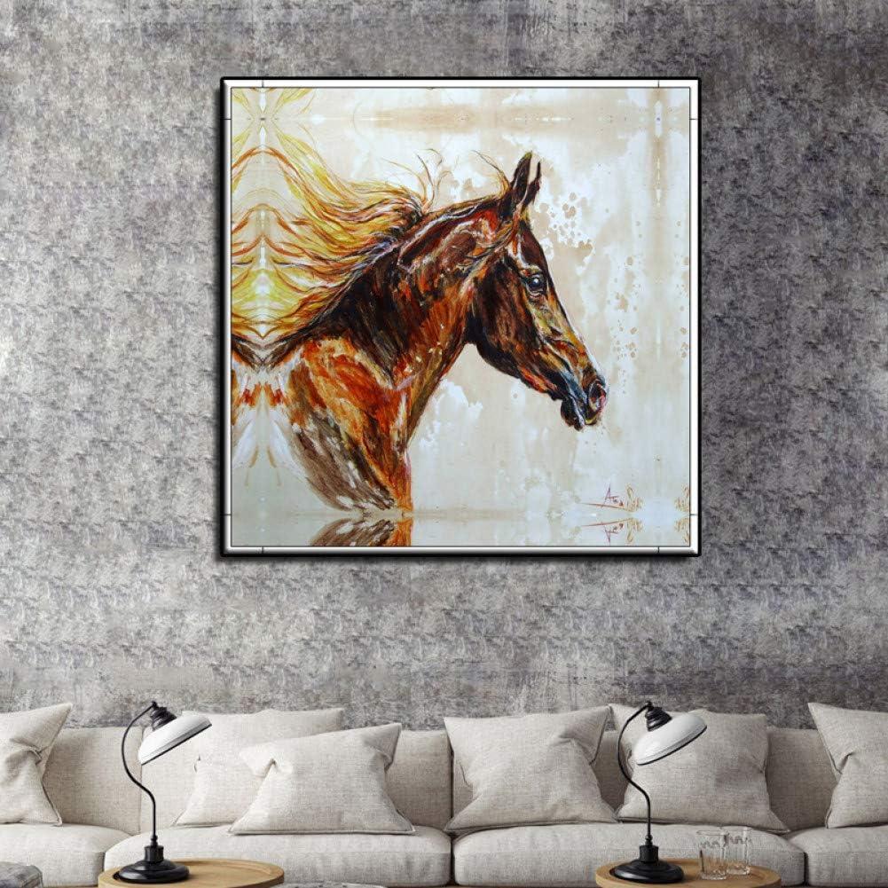 GUDOJK Cuadro en Lienzo Mural Cuadro en Lienzo Arte de la Pared Reproducciones de Cuadros Famosos Animales Caballo Pinturas decorativas-60x60cm
