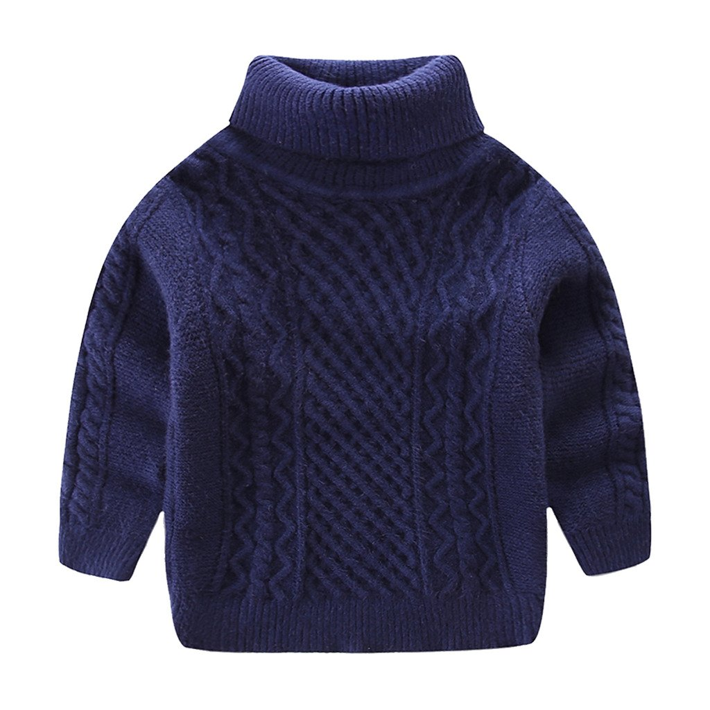 Mud Kingdom Boys Super Soft Turtleneck Sweaters Solid Color ZS0502