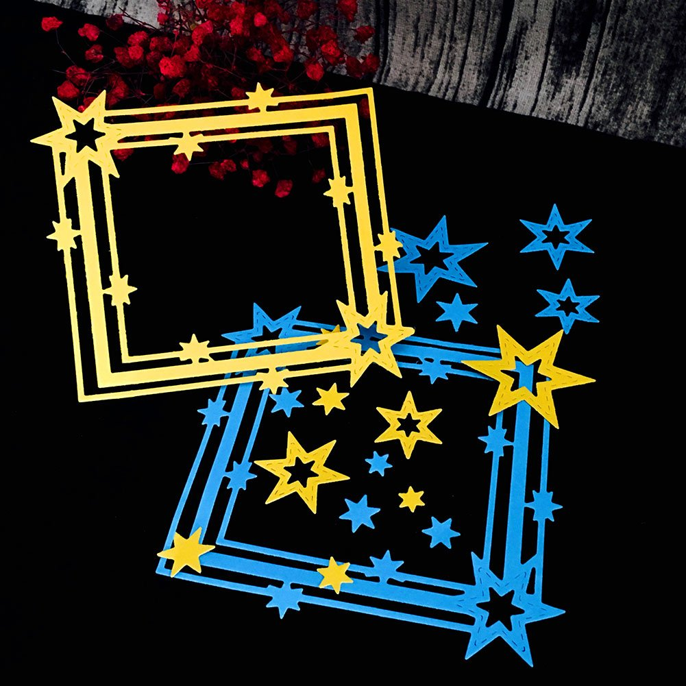 Kicode Metal Star Frame Cutting Dies DIY Cutter Handmade Album Greeting Card Stencil Embossing Scrapbooking Craft Tool