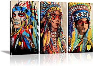 "Indian Girl Chief Native American Canvas Wall Art Feathered Women Prints Gifts Home Decor Decals for Bedroom Living Room Waterproof Posters Pictures Paintings Framed Ready to Hang (16""x32""x3pcs)"