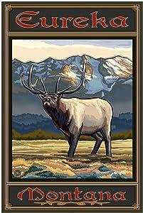 "Eureka Montana Whistling Elk Giclee Art Print Poster from Original Travel Artwork by Artist Paul A. Lanquist 30"" x 45"""