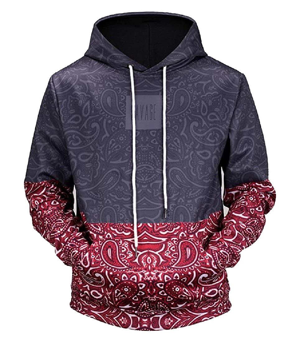NestYu Mens Graphic Print Pocket Hooded Athletic Pullover