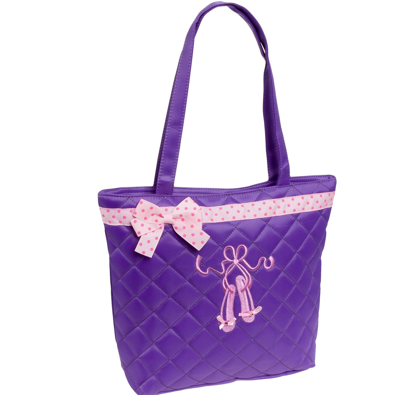 Lil Princess Quilted Dance Ballet Slippers Tote Bag, Lavender
