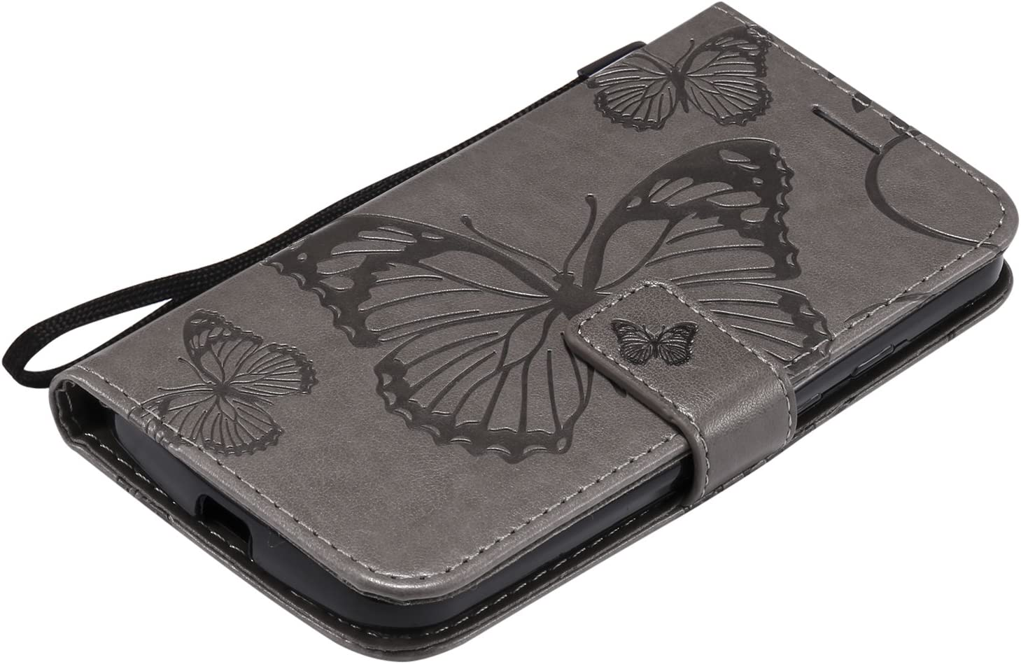 Herbests Compatible with MOTO G2 Wallet case Butterfly Pattern Premium Eelegant Leather Stand Flip Full Body Protective Cases Cover Credit Card Slot Magnetic Closure,Purple