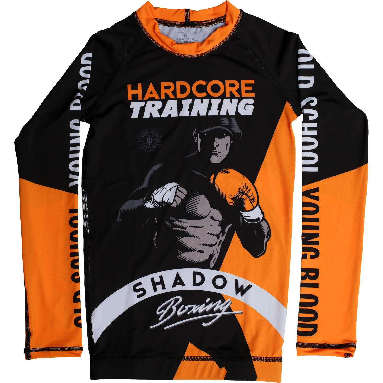 Hardcore Training Kids Rash Guard for Boy Shadow Boxing - Base Layer Compression Shirt Boy's Fitness Active BJJ-6 Years Black/Orange