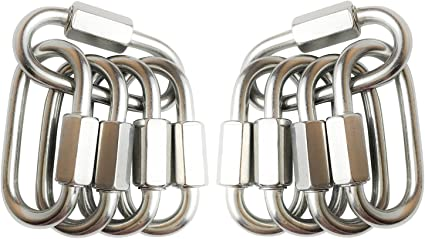 5//16 Stainless Steel Quick Link D Shape Chain Links Connector Small Climbing Lock Carabiner 4pcs M8