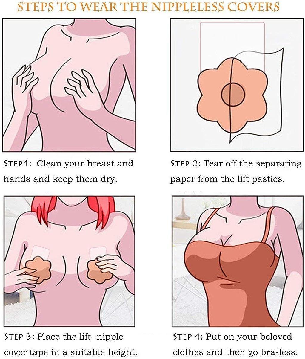Flower+Round Womens Breast Lift Nipple covers Strapless Sticky Pasties Bra ,2 Pairs