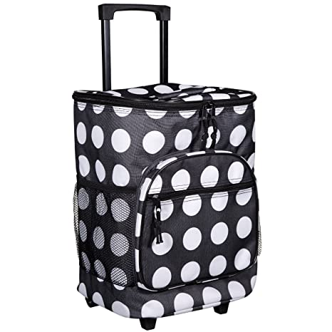 Amazon.com: Blanco y Negro Lunares Insulated Rolling Cooler ...