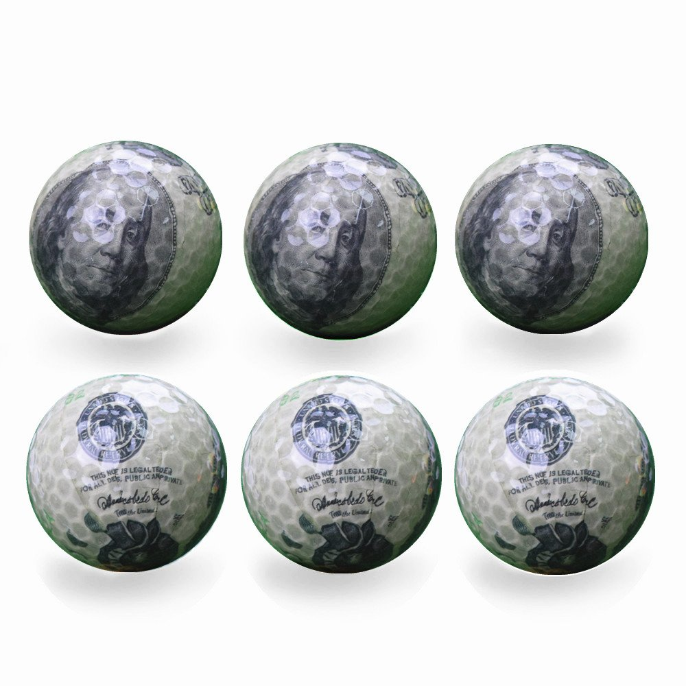 Funny Novelty Practice Golf Balls 6Pack For Kids Men Woman, Christmas Birthday Gift (Dollar) by Bikego