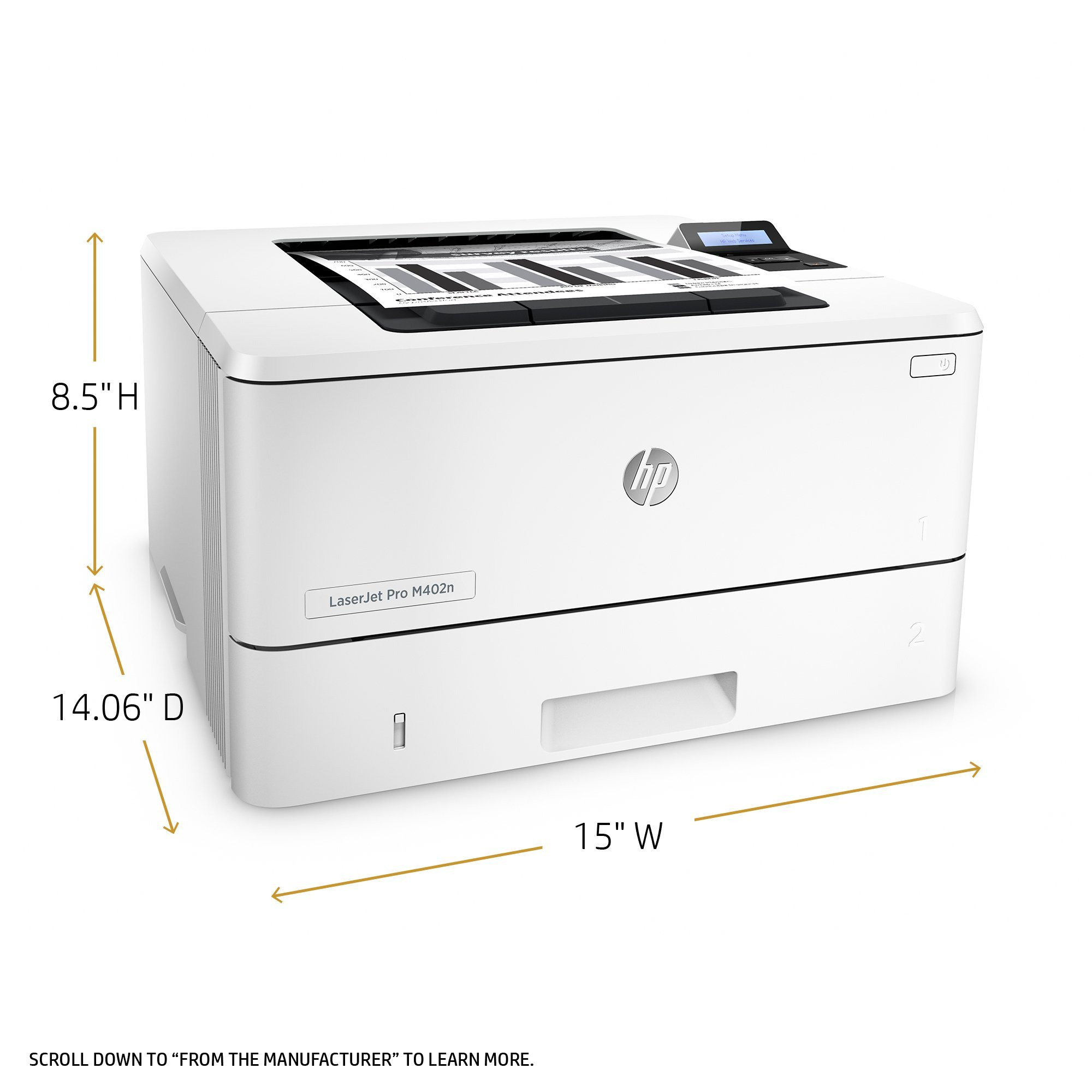 HP Laserjet Pro M402n Monochrome Printer, (C5F93A) (Renewed) by HP (Image #3)