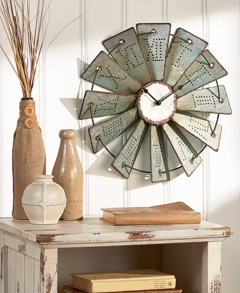Rustic Metal Windmill Wall Clock - 14.5-inches wide