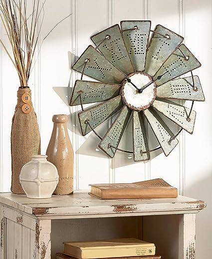 Amazon Com Metal Windmill Wall Clock Rustic Farm House Country Art