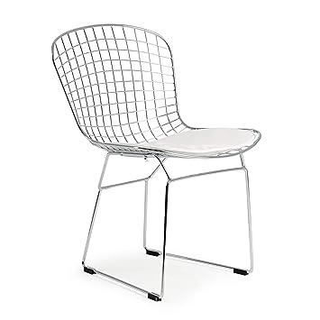 Amazon.com: Poly y alambre de corteza Bertoia estilo silla ...