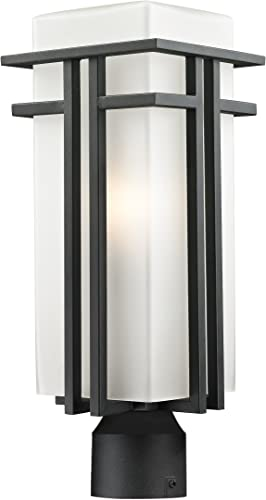 Z-Lite 549PHB-BK-R Outdoor Post Light with Matte Opal shade, Aluminum Frame