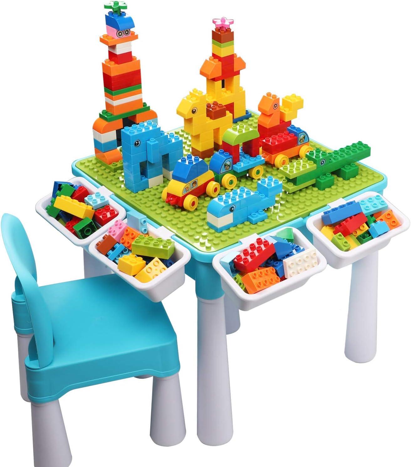 burgkidz Juego de Mesa Actividades Construccion Múltiples 5 en 1, Mesa y Silla Infantil con Bloques de Construcción Grandes de 128 Piezas, Juegos de Construcción para Niños, Azul