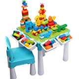 Kids 5-in-1 Multi Activity Table Set - 128 Pieces Large Building Blocks Compatible Bricks Toy, Play Table Includes 1…