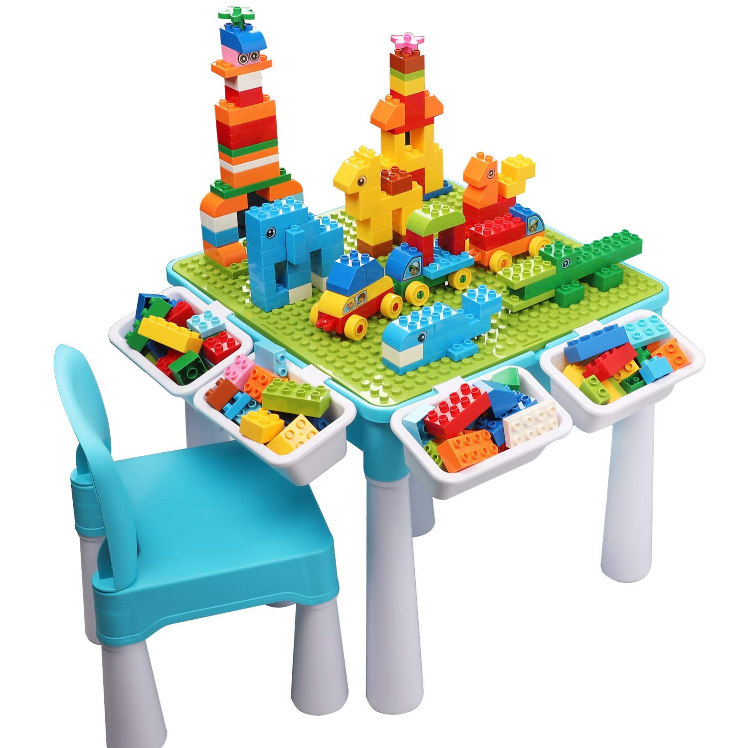 Kids 5-in-1 Multi Activity Table Set - 128 Pieces Large Building Blocks Compatible Bricks Toy, Play Table Includes 1 Chair and Building Block Table with Storage, Green Baseplate Board/Blue Color by burgkidz