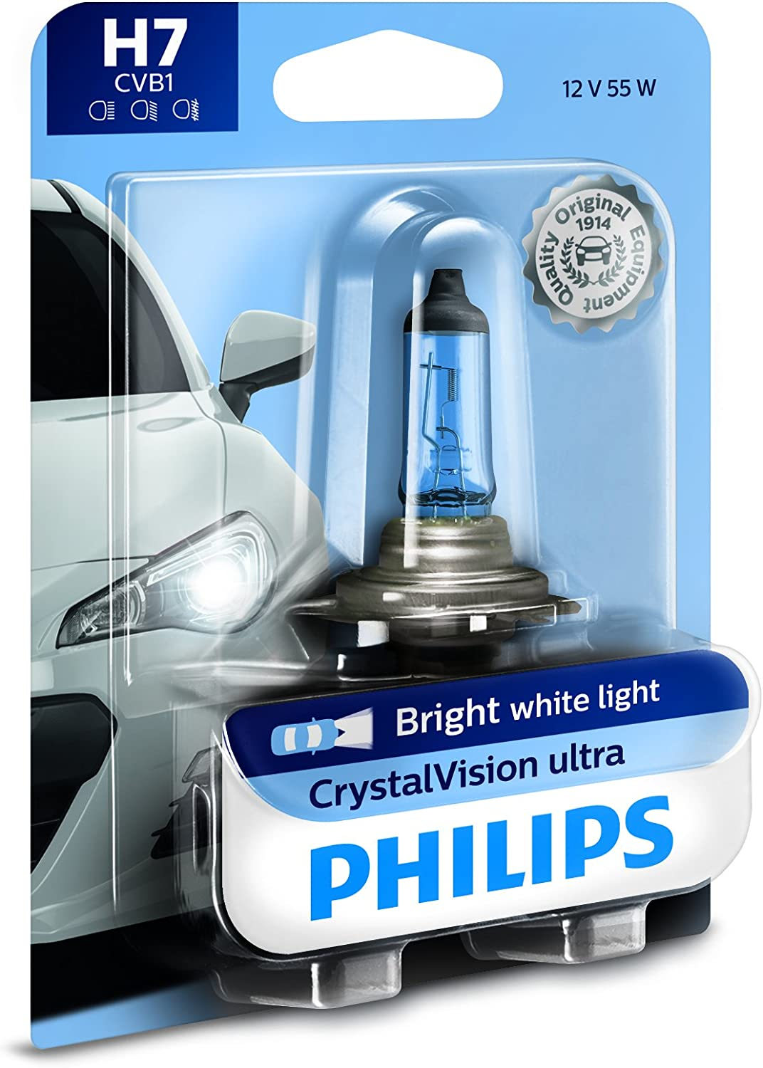 Philips H7 CrystalVision Ultra Upgrade Bright White Headlight Bulb
