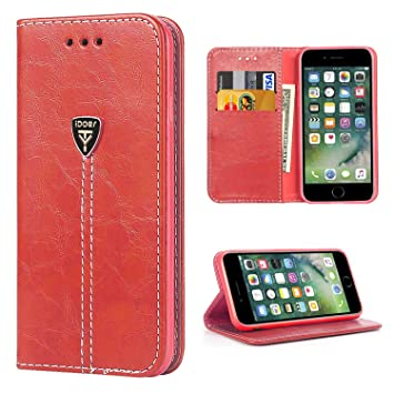 iPhone 7 Funda, iDoer iPhone 7 Funda con tapa libro piel y TPU cartera cover