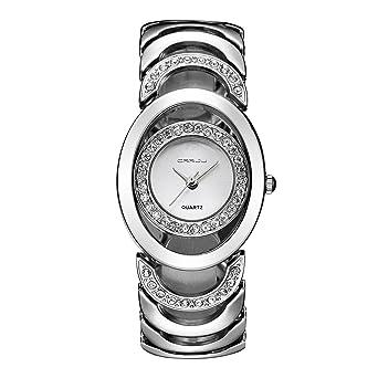 fed7f382c Fashion Womens Watches Silver Analog Quartz Bangle Rhinestone Waterproof Stainless  Steel Hollow Wrist Watch Bracelet