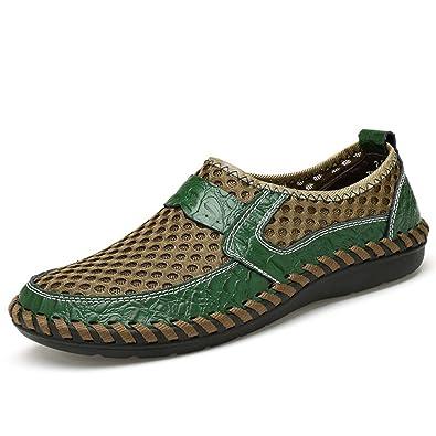 Gracosy Masche Espadrilles Herren Casual Schuhe aus Masche-Gewebe Leder Ultra Weich Bequem Atmungsaktiv Bootsschuhe