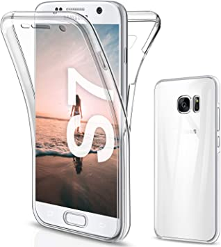 SOGUDE Coque pour Samsung S7 Etui, Samsung S7 Coque Transparent Silicone TPU Case Intégral 360 Degres Full Body Protection Coque Housse pour Samsung ...