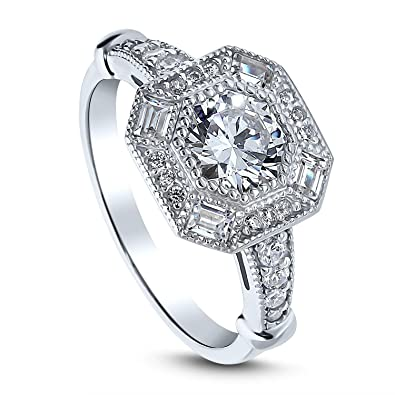 828855046c69a BERRICLE Rhodium Plated Sterling Silver Art Deco Milgrain Halo Engagement  Ring Made with Swarovski Zirconia Octagon Sun Cut 1.79 CTW