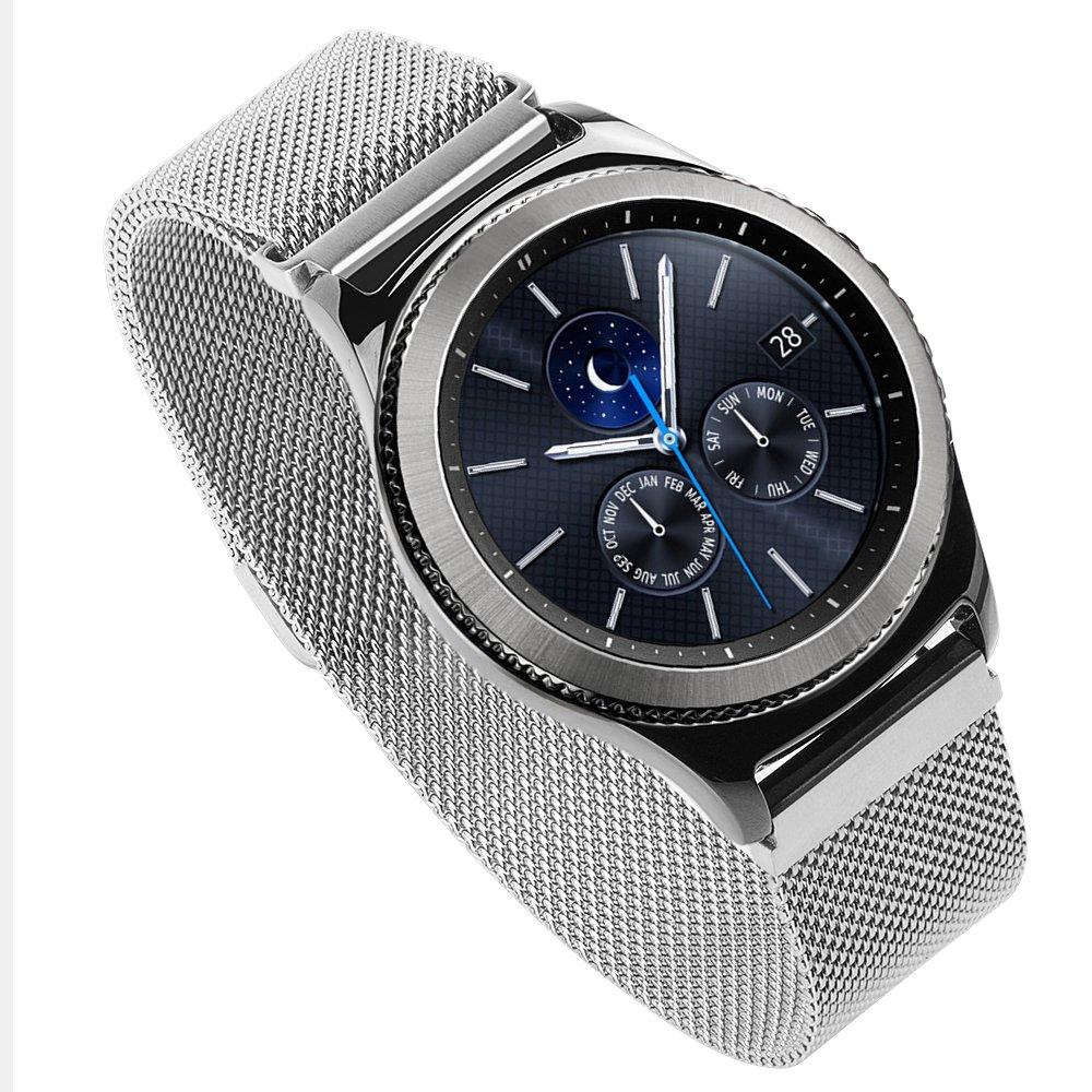 Tutumu歯車s3クラシック時計バンドクイックリリースステンレススチールメタルリストバンド交換用ブレスレットストラップfor Samsung Gear s3フロンティア/クラシックスマート腕時計  シルバー B07FM6D7DS