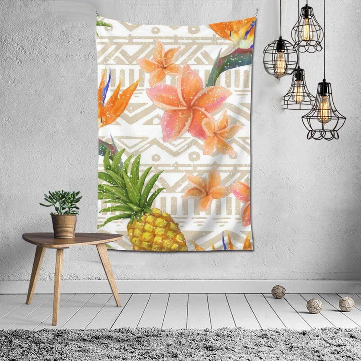 IRKKW81&c2 Durable Pineapples and Flowers Tapestry Wall Tapestry Home Decor for Bedroom Living Room College Dorm, (60 X 40 in)