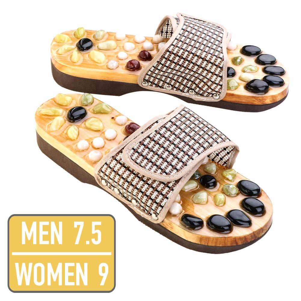 Neo Reflexology Sandals | Ultimate Therapeutic Natural Stone Reflexology Slippers | Foot Acupressure Shiatsu Massage | Non-Slip and Anti-Bacterial Materials | Fit 9 Women / 7.5 Men Feet Size