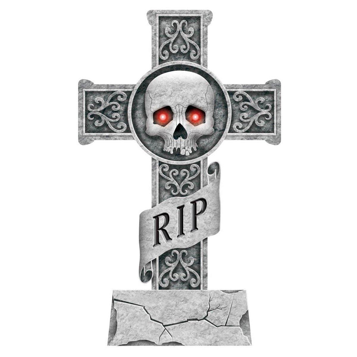 Amazon halloween tombstone decoration24 light up tomb stone amazon halloween tombstone decoration24 light up tomb stone cross skull ripstake included toys games arubaitofo Images