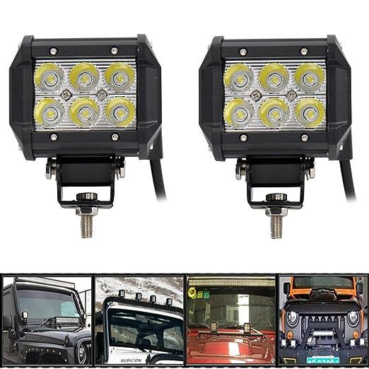 3 opinioni per Audew Fari LED Faretti Fuoristrada Driving Spot Fari Lavoro Luce 2 Pezzi 18W