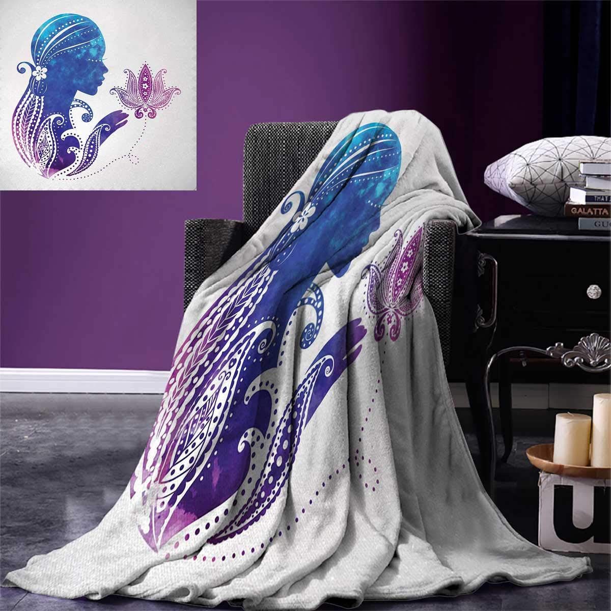 Teen Girls Super Soft Lightweight Blanket Girls Silhouette with Flowers on Her Hair Floral Ornaments Meditation Spa Art Oversized Travel Throw Cover Blanket 90''x70'' Purple Blue