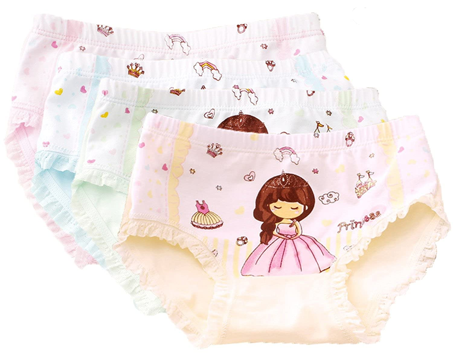FAIRYRAIN Little Girls Kids Baby Toddler 4Pcs Princess Underwear Boxers Briefs Panties