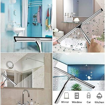 Hawsam Sin Taladrar Limpia-Cristales Baño con Colgador Adhesivo - limpiacristales de Acero Inoxidable para Ventanas y Cristales del Baño Raqueta Espejo: Amazon.es: Hogar