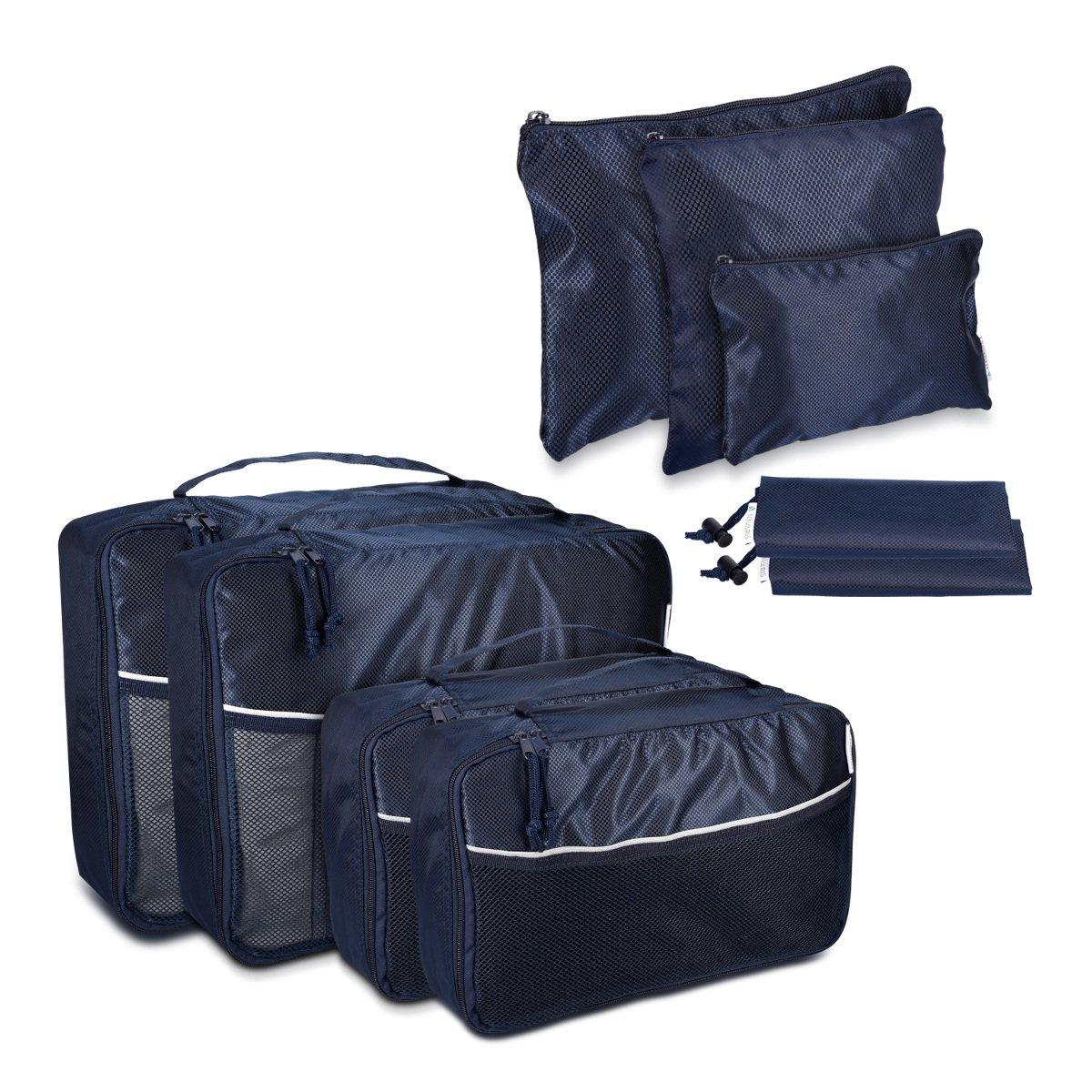 Set de 9 Bolsas para Maleta de Navaris en Azul Oscuro - Bolsas de Ropa Zapatos Ropa Sucia Mochila Organizador de Maleta Equipaje Viaje Vacaciones KW-Commerce 39530.17_m000626