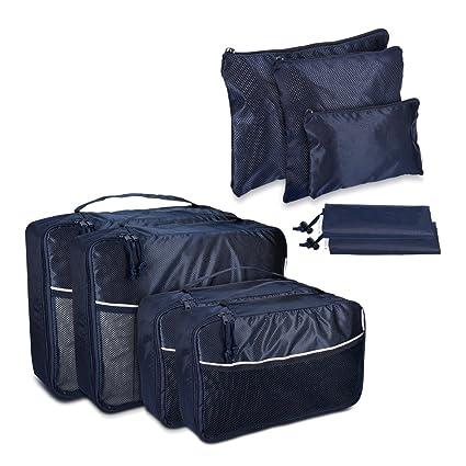 Set de 9 Bolsas para Maleta de Navaris en Azul Oscuro - Bolsas de Ropa Zapatos Ropa Sucia Mochila Organizador de Maleta Equipaje Viaje Vacaciones