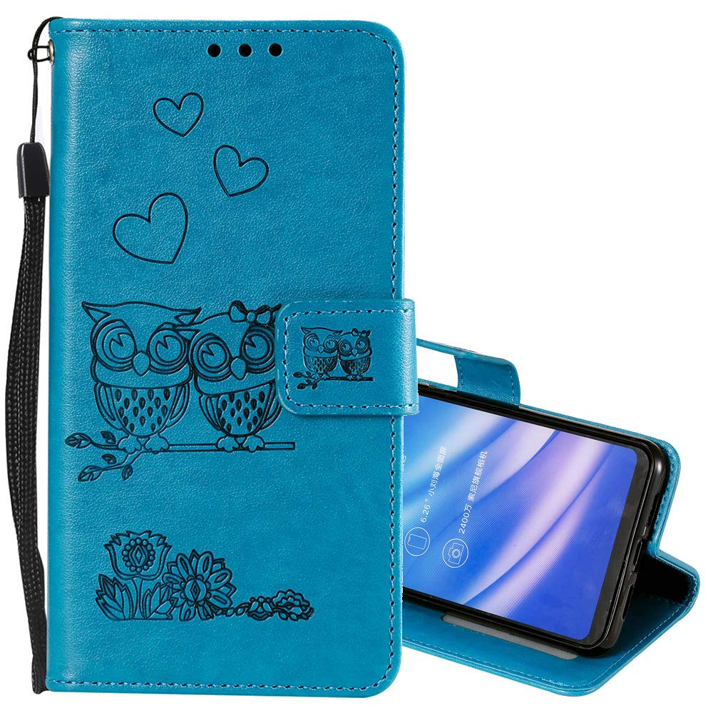 Nadoli Wallet Case for Huawei Y6 2019,Cut Funny Embossed Flower Owl Premium PU Leather Wrist Strap Magnetic Closure Bookstyle Protective Flip Cover for Huawei Y6 2019