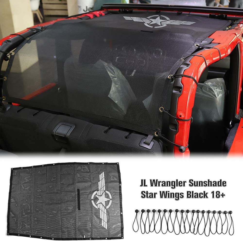 RT-TCZ Sunshade Mesh Shade Top Cover UV Protection Accessories Polyester Durable Sun Shade for Jeep Wrangler 2018-2021 JL JLU 2 Door Long Size Star Wings Style