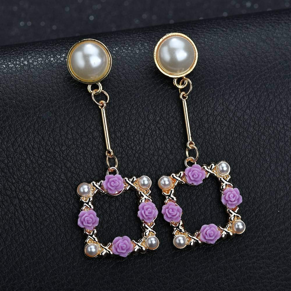 Square Flower Wreath Pearl Drop Earrings,Hollow Geometric Rectangle Engraving Flower Basket Dangle Earrings for Women Girls Fashion Jewellery