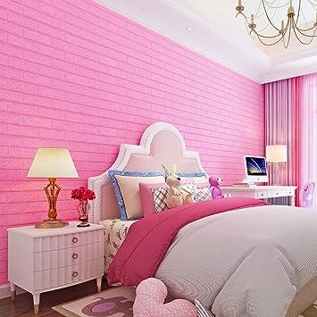 Steinwnde Wohnzimmer Kaufen 2   Kinlo 25 Stucke 3d Wandpaneele 70x77x1cm Rosarot Verdickt Steinwand