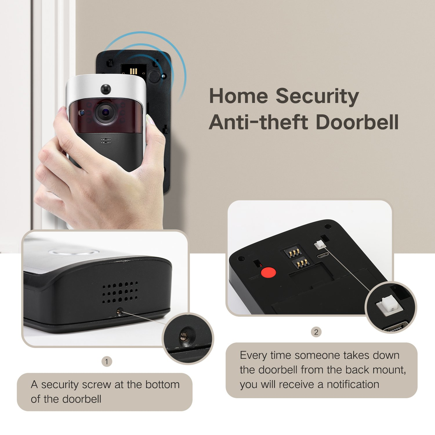 GJT Smart Video Doorbell Wireless Home WIFI Security Camera With Indoor Chime, 8G SD Card, Free Cloud Service, 2 Batteries, 2-Way Talk, Night Vision, PIR Motion Detection, APP Control for IOS Android by GJT (Image #6)