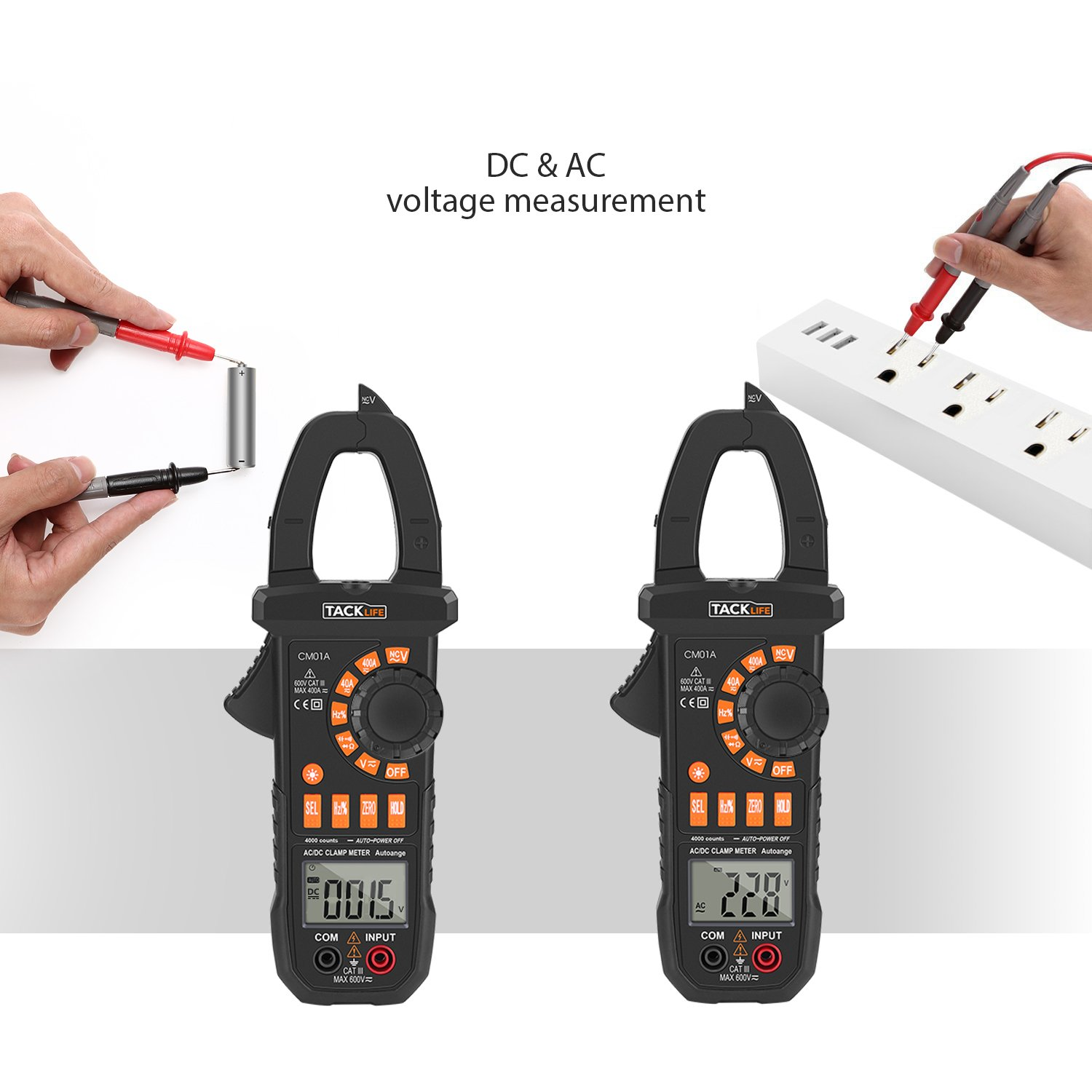 Multimeter, Tacklife CM01A Clamp Meter 4000 Counts Auto-Ranging Digital Tester with NCV, AC/DC Voltage, Current, Ohm, Continuity Electrical Tester, Diode, Resistance,Capacitance Meters by TACKLIFE (Image #3)