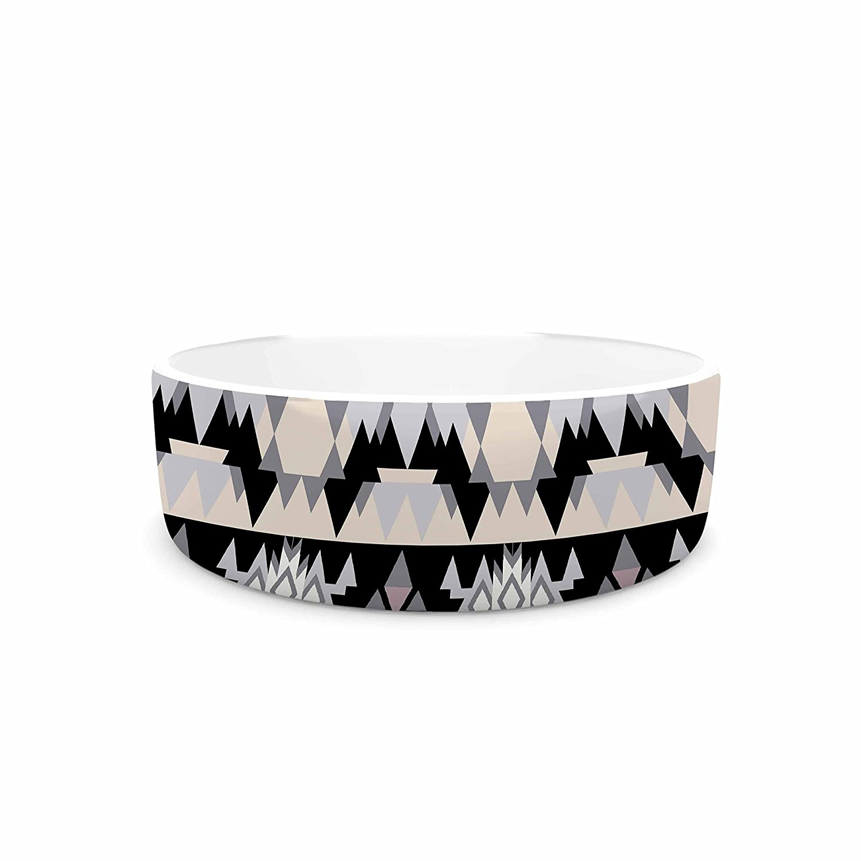 KESS InHouse Victoria Krupp Nordic Ice Black Pastel Digital Pet Bowl, 7  Diameter