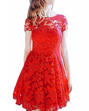 0add380cd6ec28 Yigoo Festliche Elegant Kleider Damen Festlich Hochzeit Spitzenkleider  Vintage Abendkleid Cocktailkleid A-Linie Knielang Kurzarm S-5XL  Amazon.de   ...