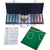 COSTWAY Pokerkoffer Poker Set 500 Laser-Chips Alukoffer Alu Pokerkoffer + Tuch + 2 Pokerdecks