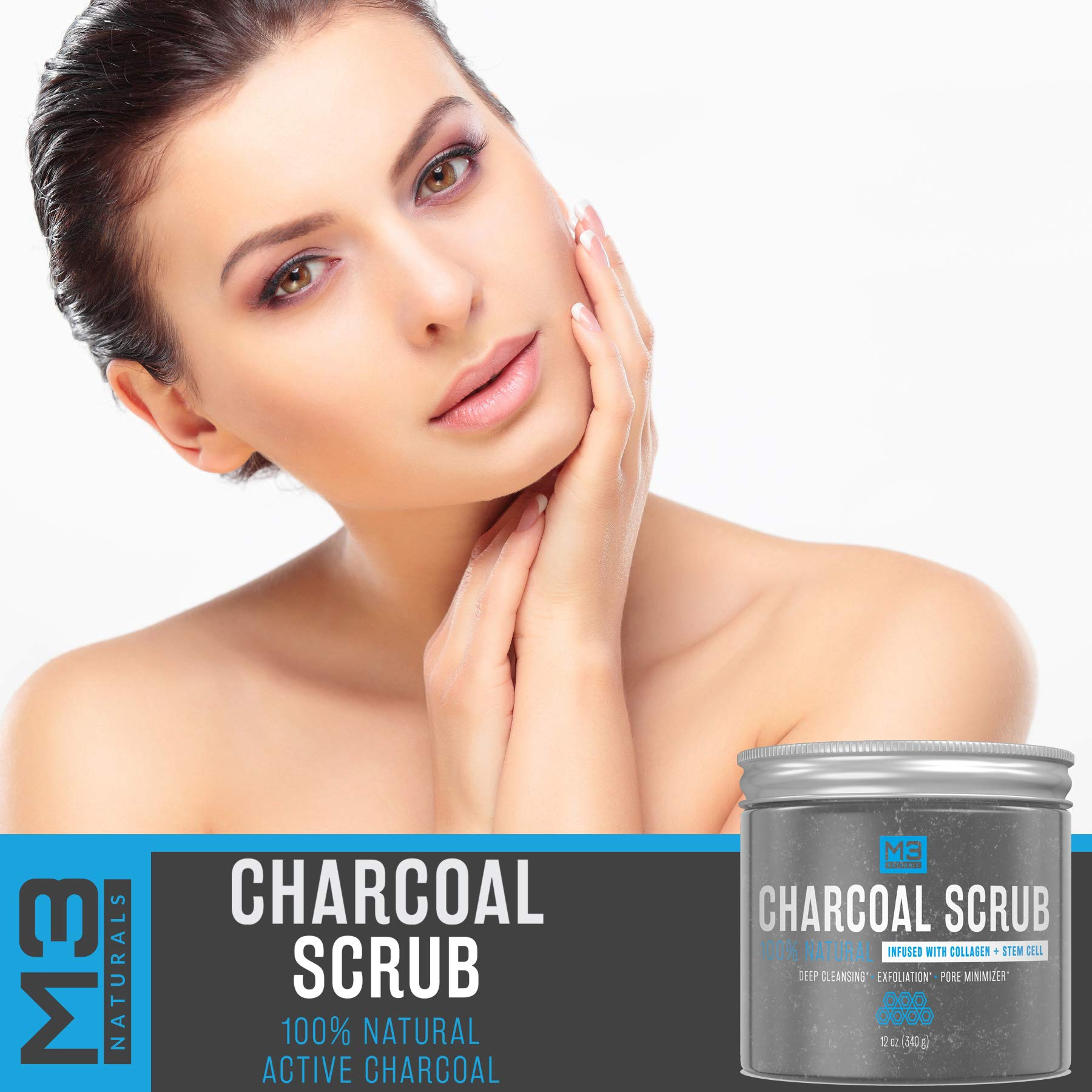 M3 Naturals Activated Charcoal Scrub Infused with Collagen & Stem Cell All Natural Body & Face Skin Care Exfoliating Blackheads Acne Scars Pore Minimizer Reduces Wrinkles Anti Cellulite12 OZ by M3 Naturals (Image #8)