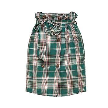 Sunenjoy - Falda a Cuadros para Mujer, Talla Alta, Escocesa ...