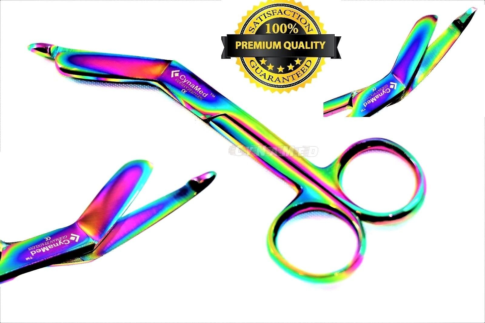 NEW GERMAN 1 Lister Bandage Nurse Scissors - 4.5'' Multi Titanium Color Rainbow (CYNAMED)